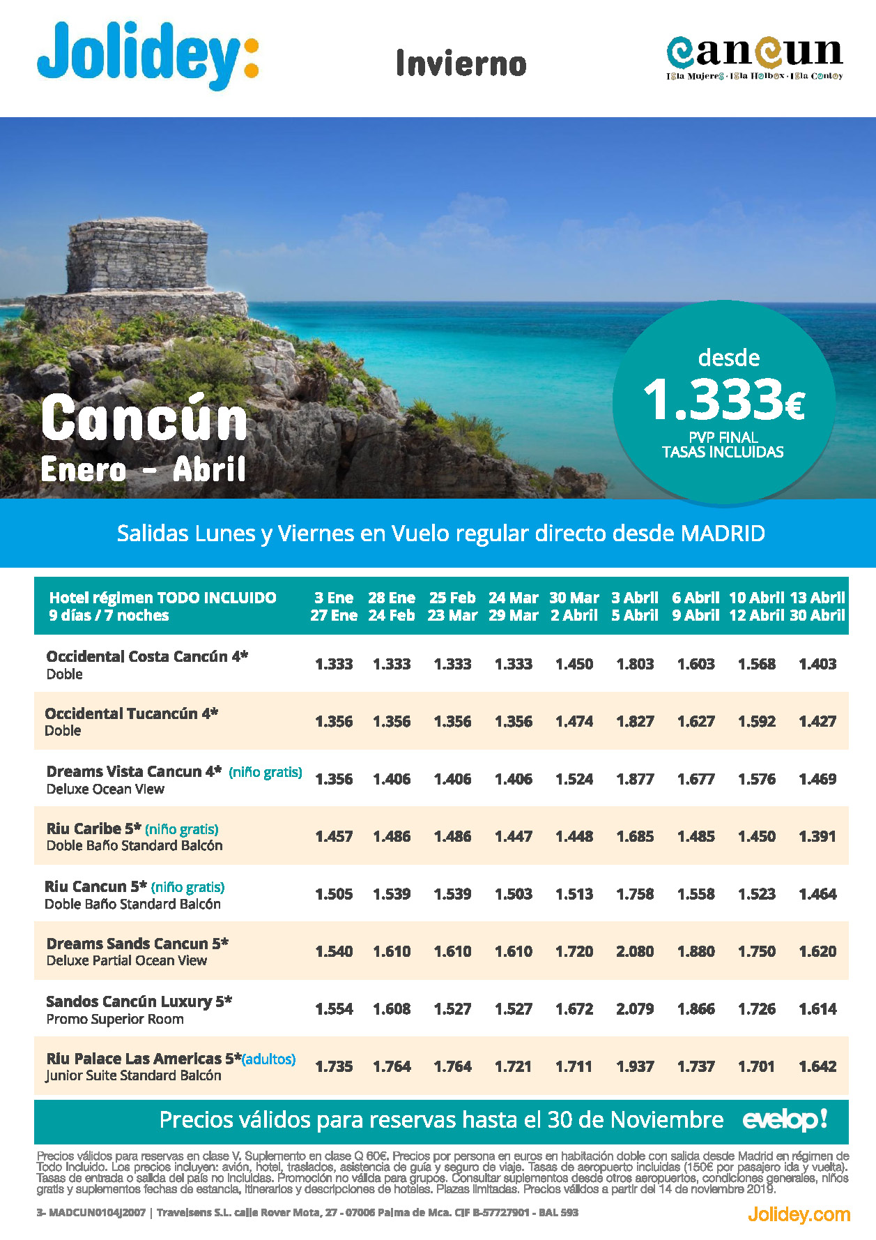 Ofertas Jolidey Vacaciones en Cancun Enero a Abril 2020