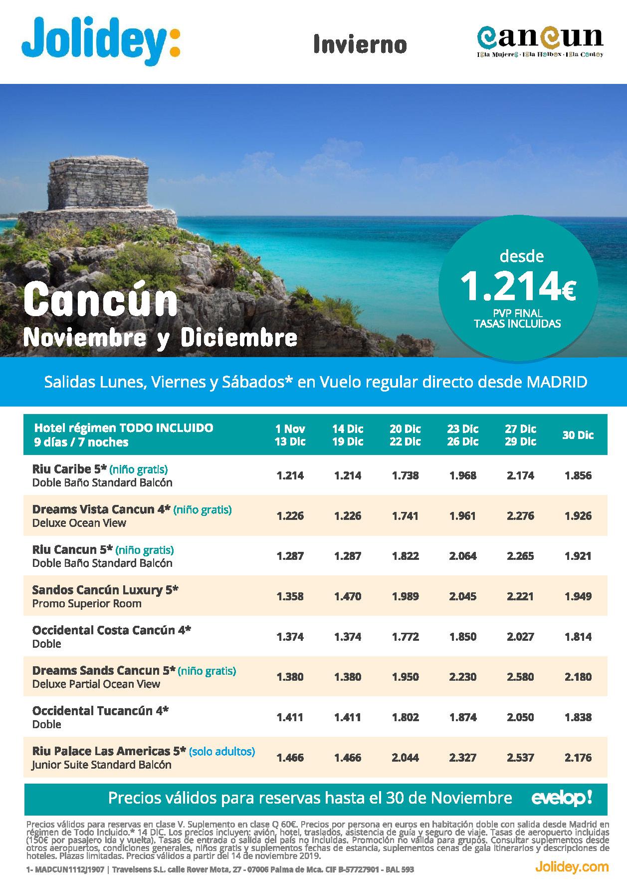 Ofertas Jolidey Vacaciones en Cancun Noviembre Diciembre 2019