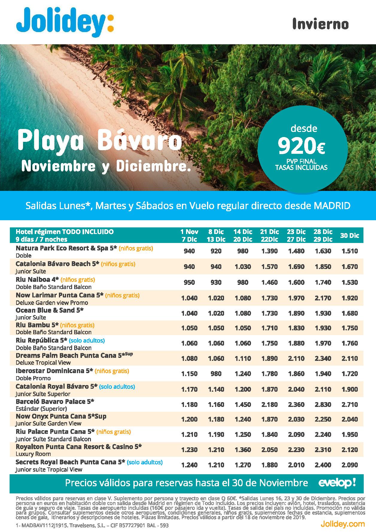 Ofertas Jolidey Vacaciones en Playa Bavaro Noviembre Diciembre 2019