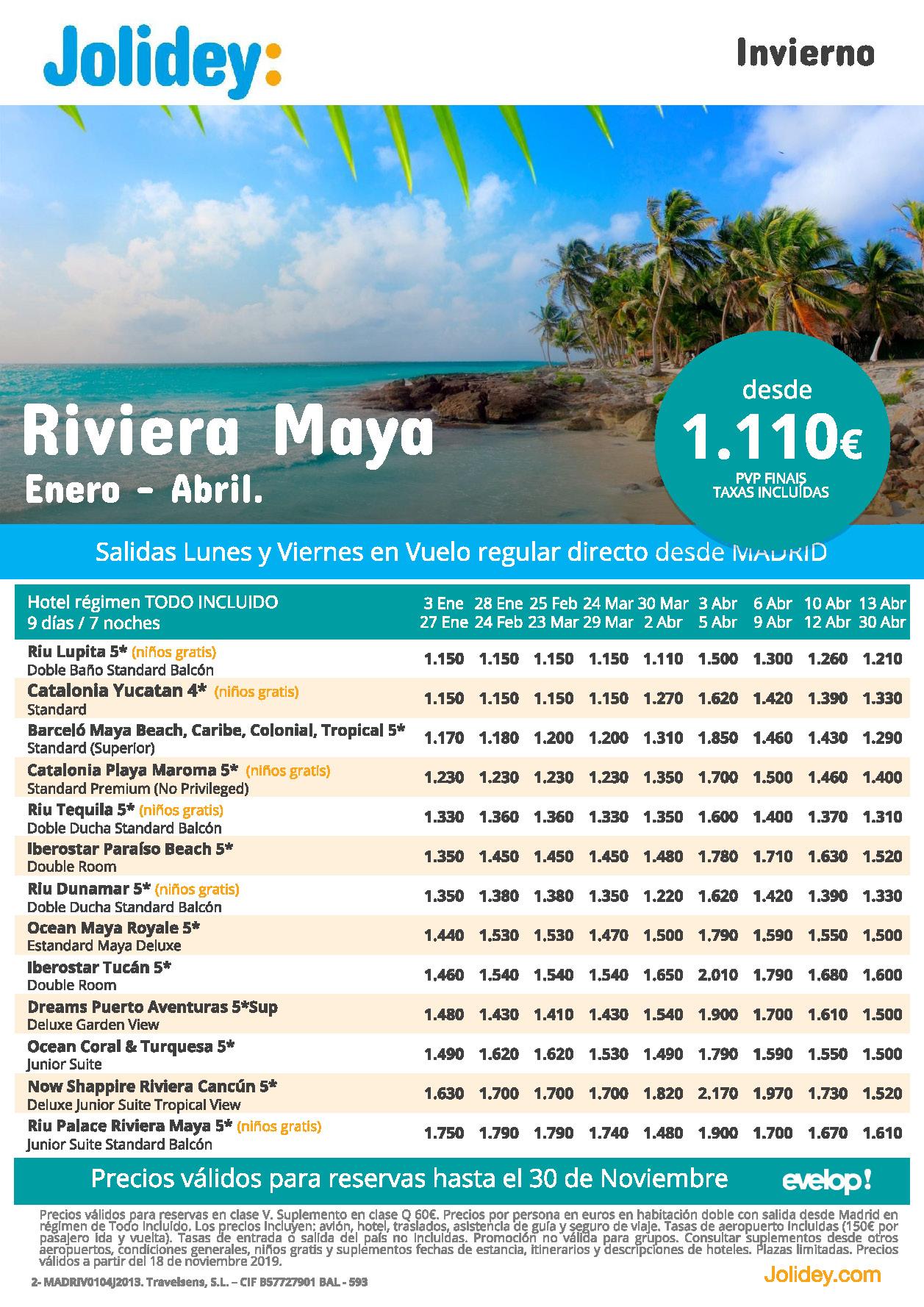Ofertas Jolidey Vacaciones en Riviera Maya Enero a Abril 2020