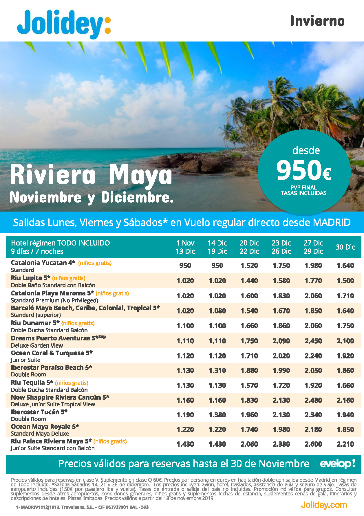 Ofertas Jolidey Vacaciones en Riviera Maya Noviembre Diciembre 2019
