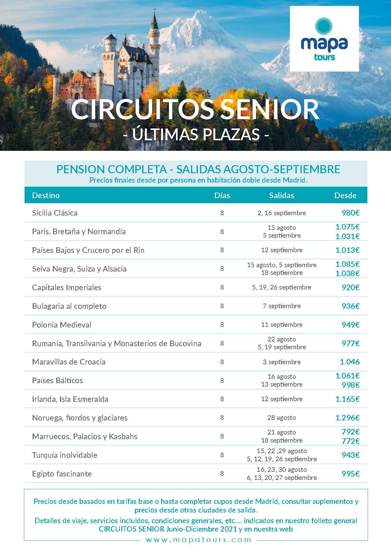 Ofertas Mapa Tours Senior Ultimas Plazas Agosto y Septiembre 2021