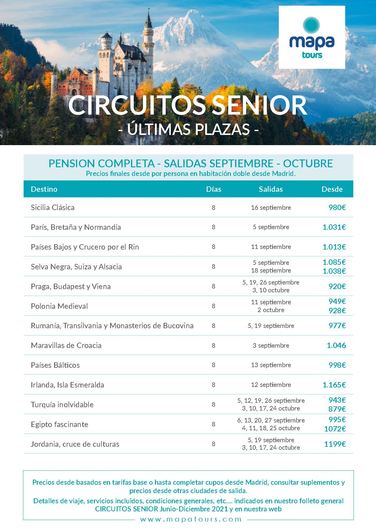 Ofertas Mapa Tours Senior Ultimas Plazas Septiembre y Octubre 2021
