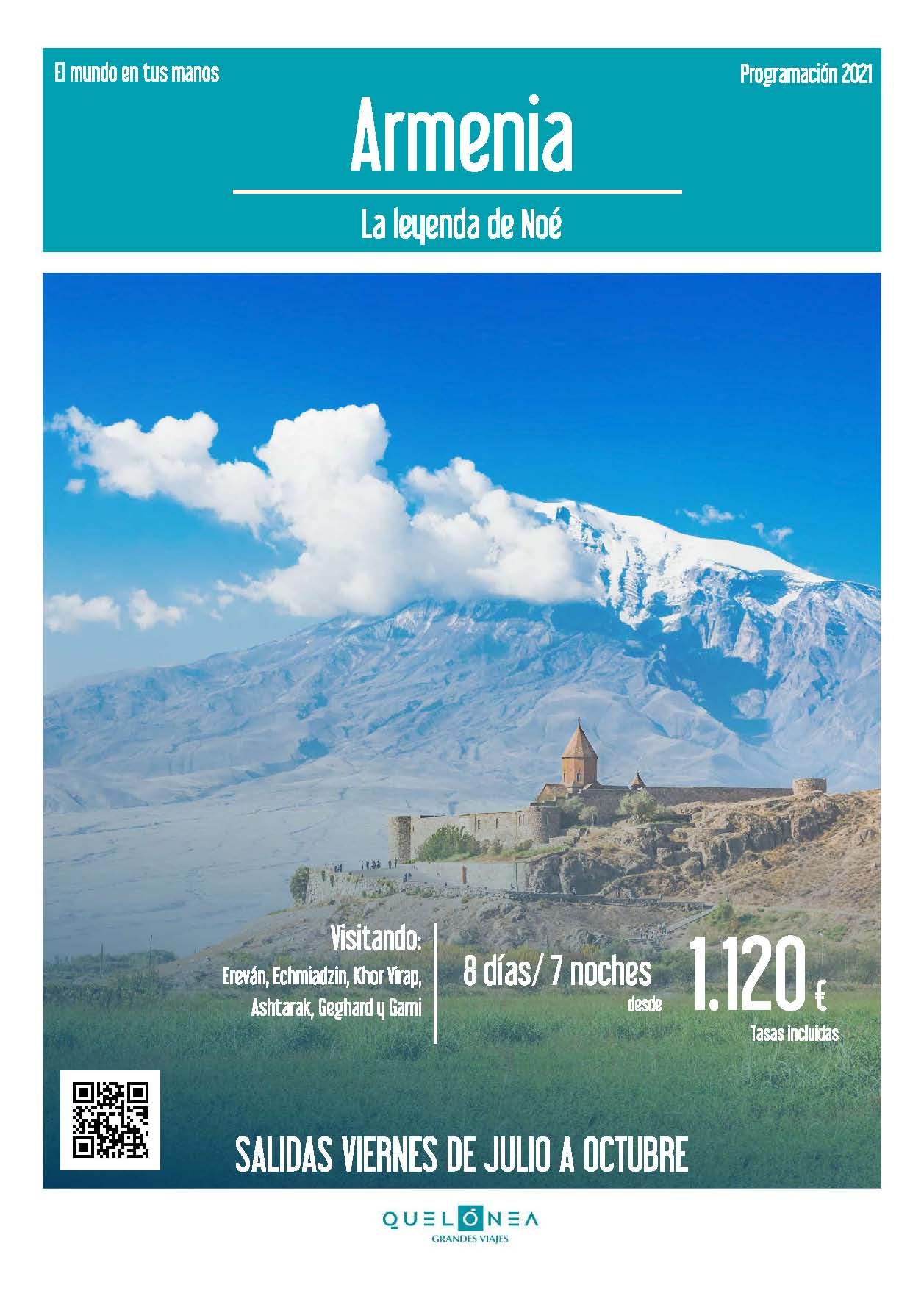 Ofertas Quelonea Armenia Verano y Otono 2021 vuelo directo desde Madrid
