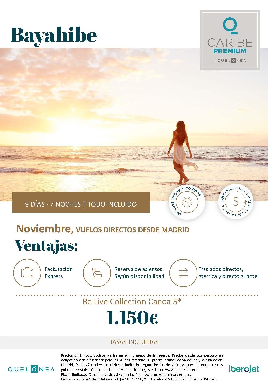 Ofertas Quelonea Caribe Premium Bayahibe en Noviembre 2021 salida en vuelo directo desde Madrid