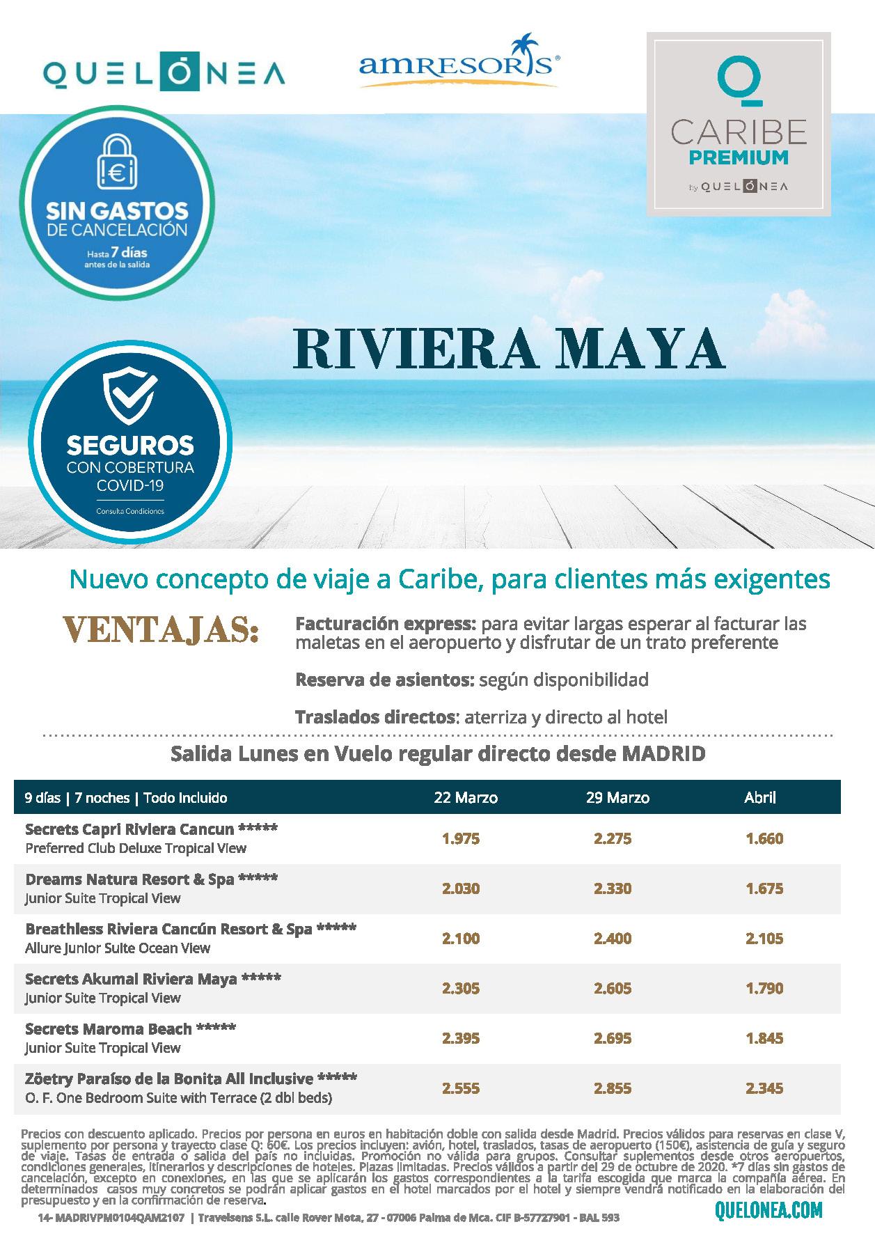 Ofertas Quelonea Caribe Premium Mexico Riviera maya Enero a Abril 2021 vuelo directo desde Madrid