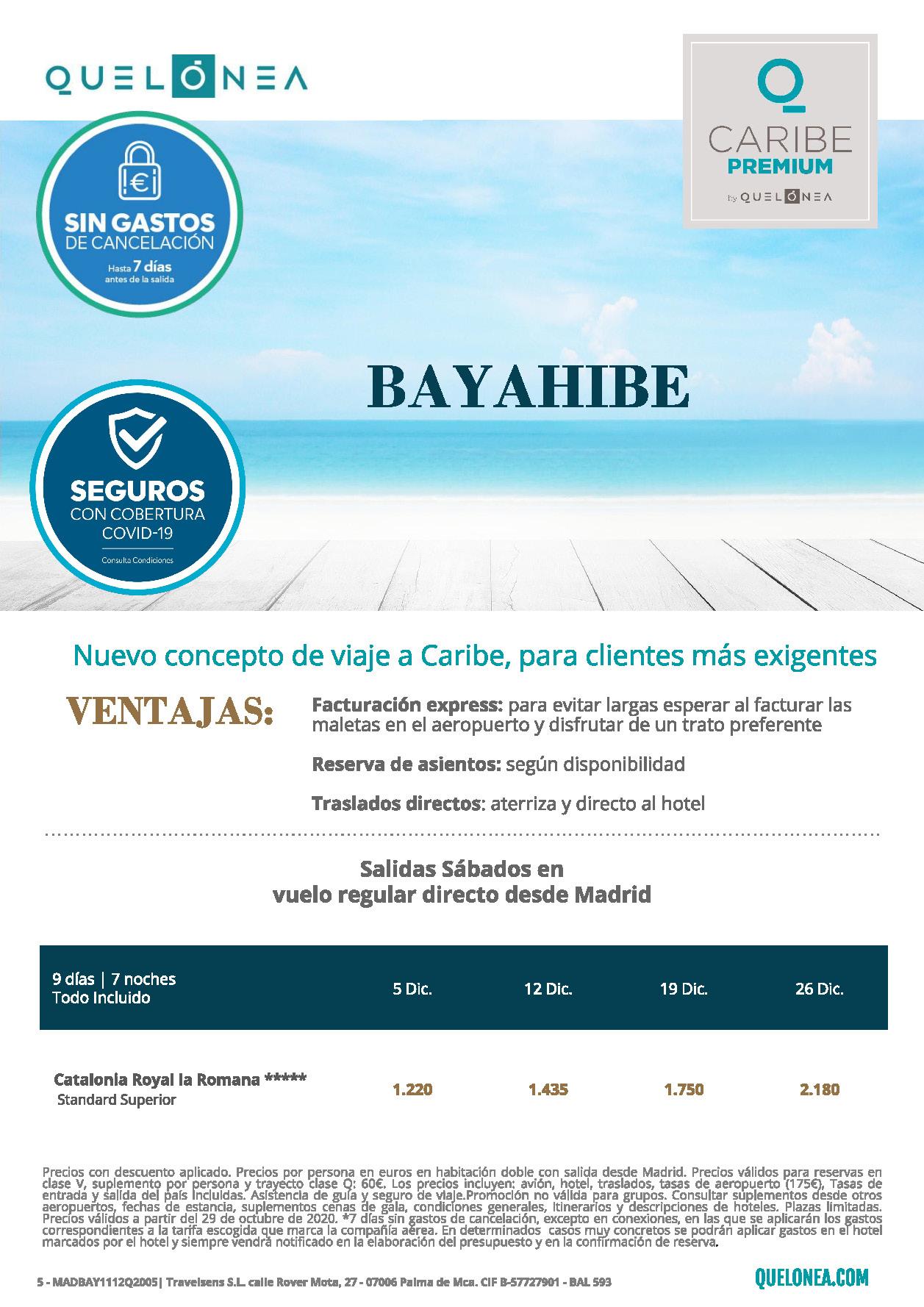 Ofertas Quelonea Caribe Premium Republica Dominicana Bayahibe Diciembre 2020 vuelo directo desde Madrid