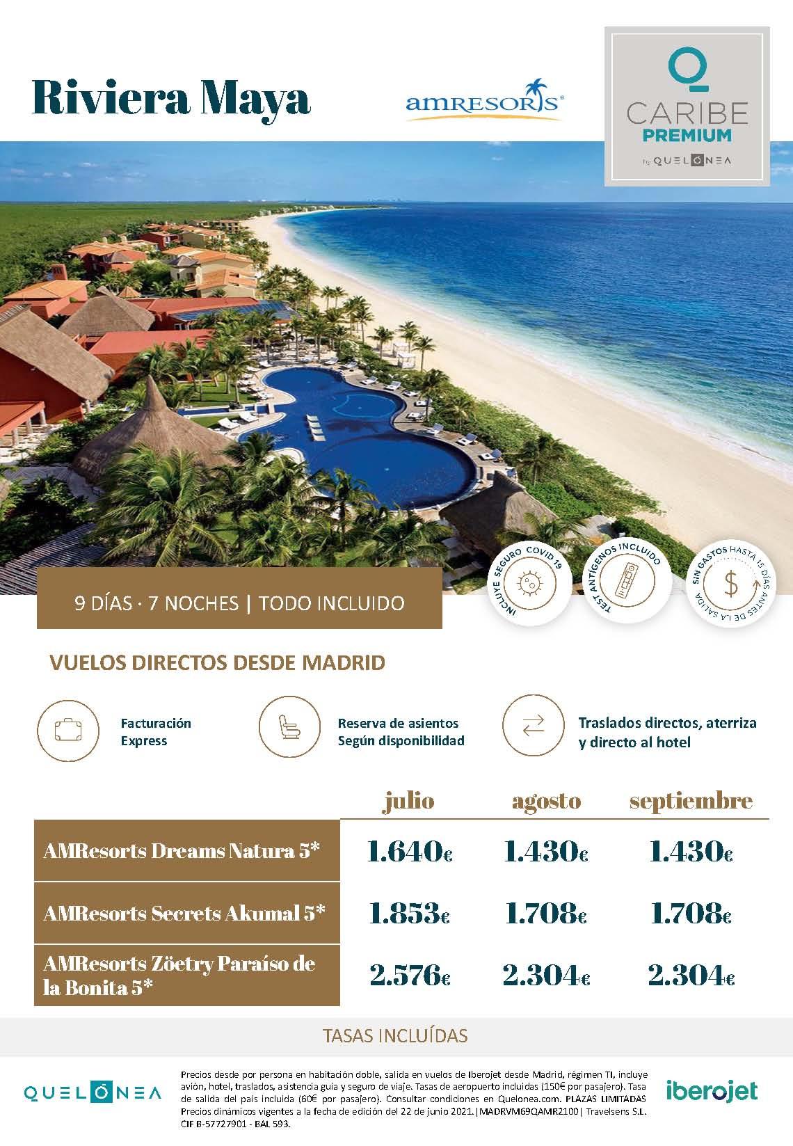 Ofertas Quelonea Caribe Premium Verano 2021 Riviera Maya AM Resorts vuelo directo desde Madrid
