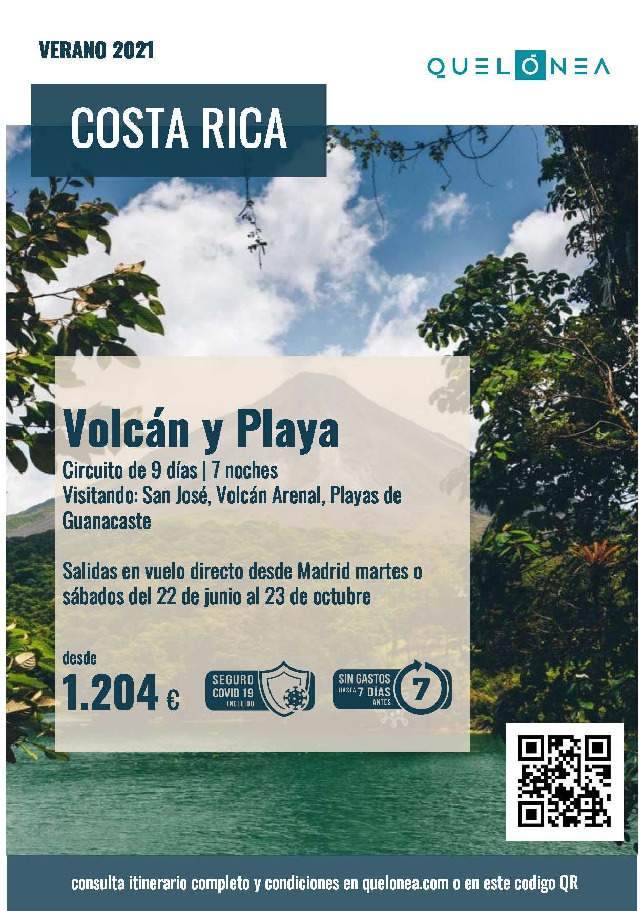 Ofertas Quelonea Costa Rica Vocan y Playa Verano 2021 vuelo directo desde Madrid 2