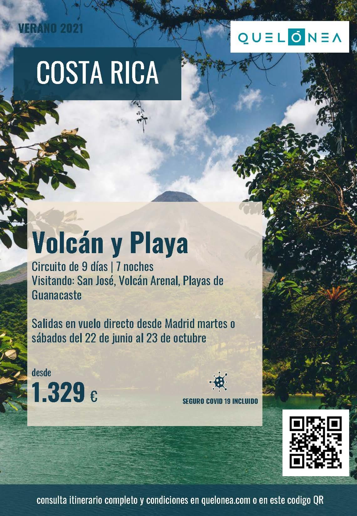 Ofertas Quelonea Costa Rica Vocan y Playa Verano 2021 vuelo directo desde Madrid