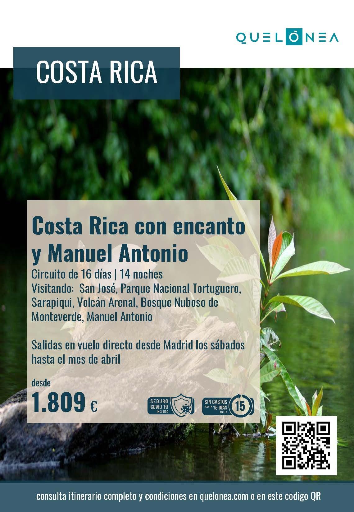 Ofertas Quelonea Costa Rica con Encanto y Manuel Antonio 2021-2022 vuelo directo desde Madrid