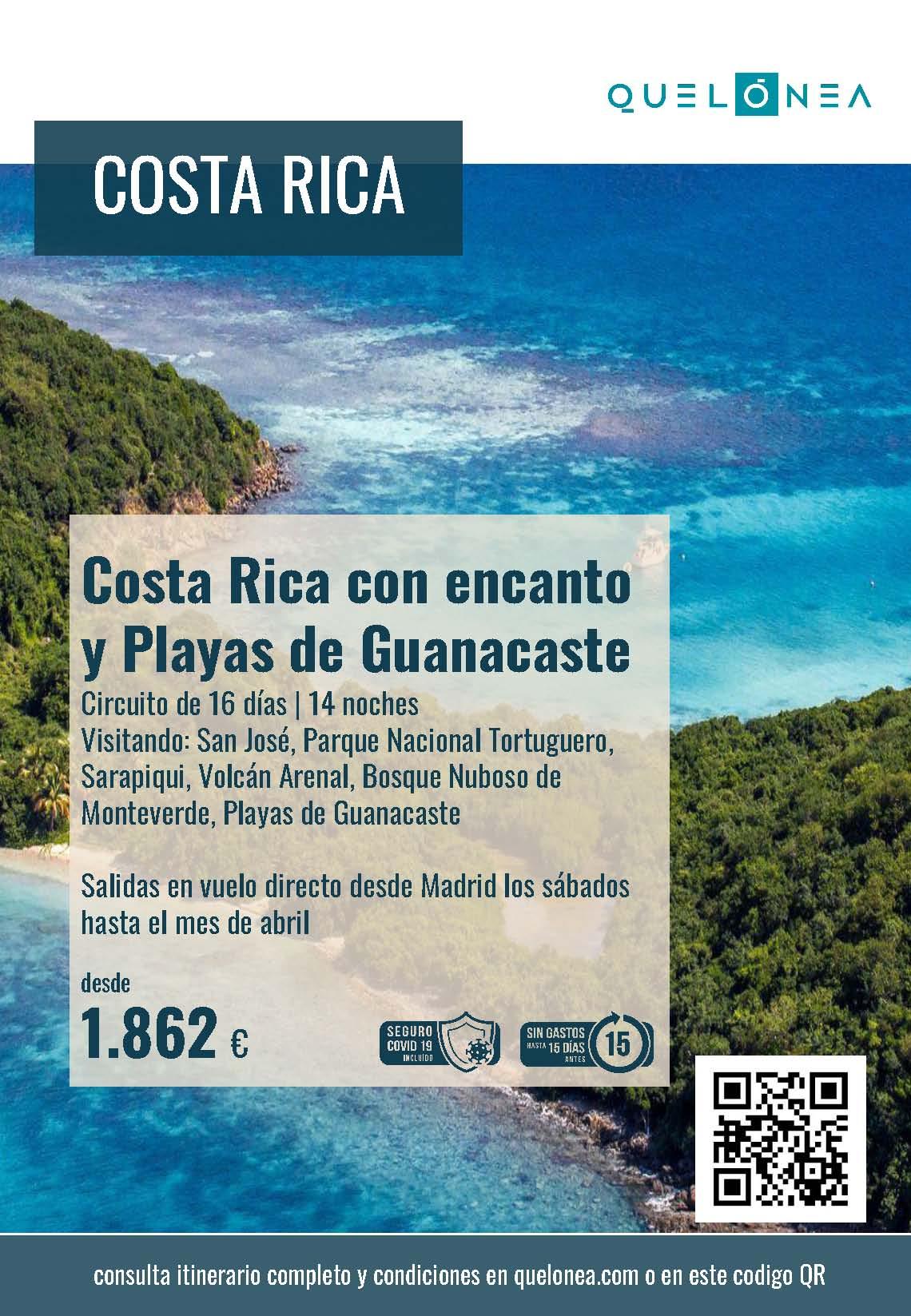 Ofertas Quelonea Costa Rica con Encanto y Playas de Guanacaste 2021-2022 vuelo directo desde Madrid