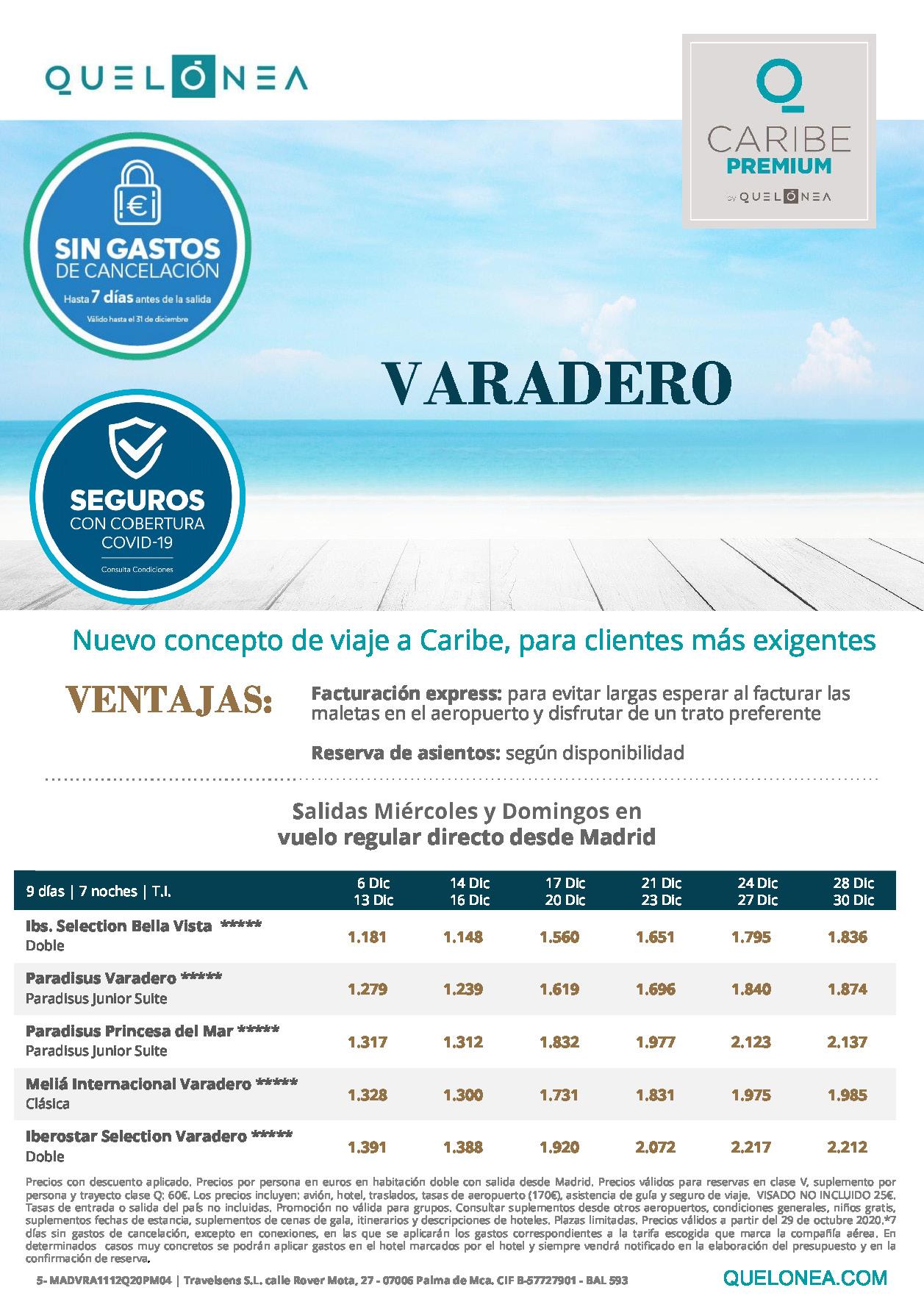 Ofertas Quelonea Cuba Premium Varadero Diciembre 2020 vuelo directo desde Madrid