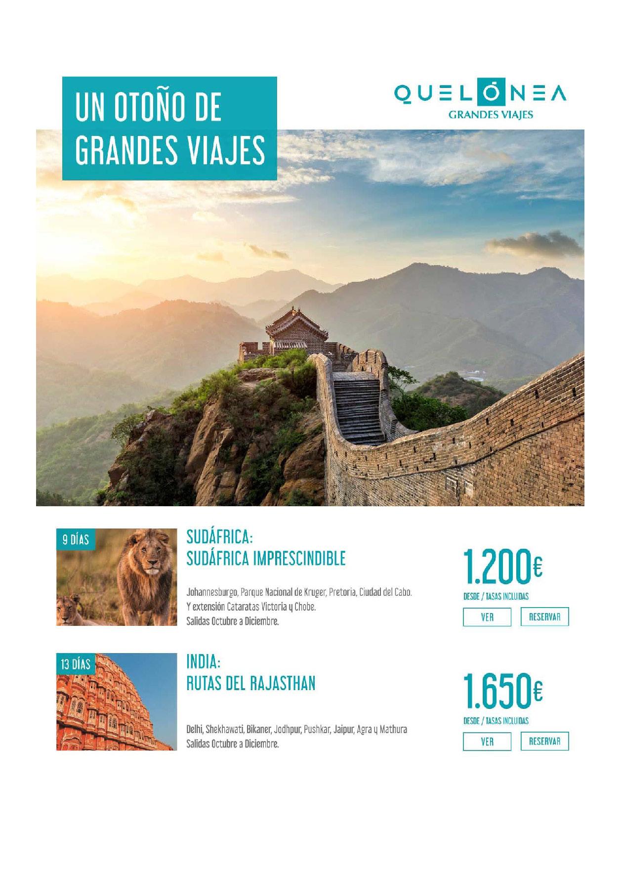 Ofertas Quelonea Grandes Viajes Invierno 2019-2020