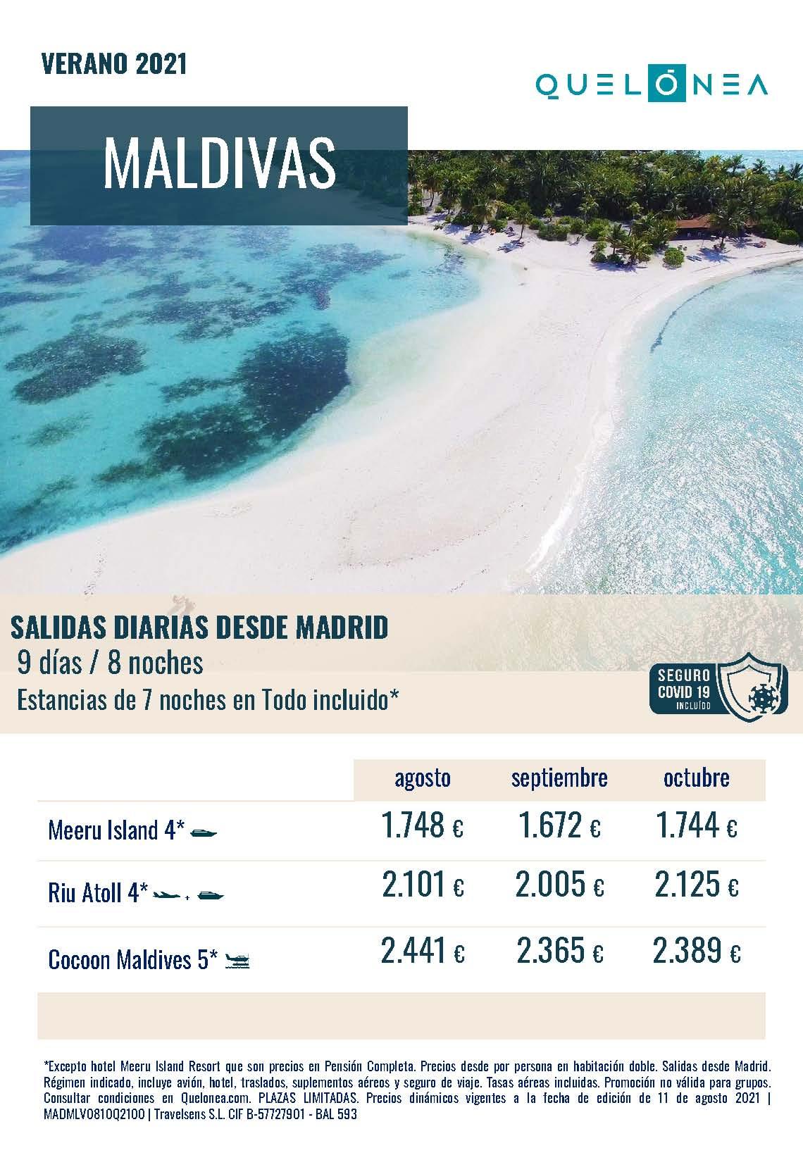 Ofertas Quelonea Maldivas Agosto Septiembre Octubre 2021