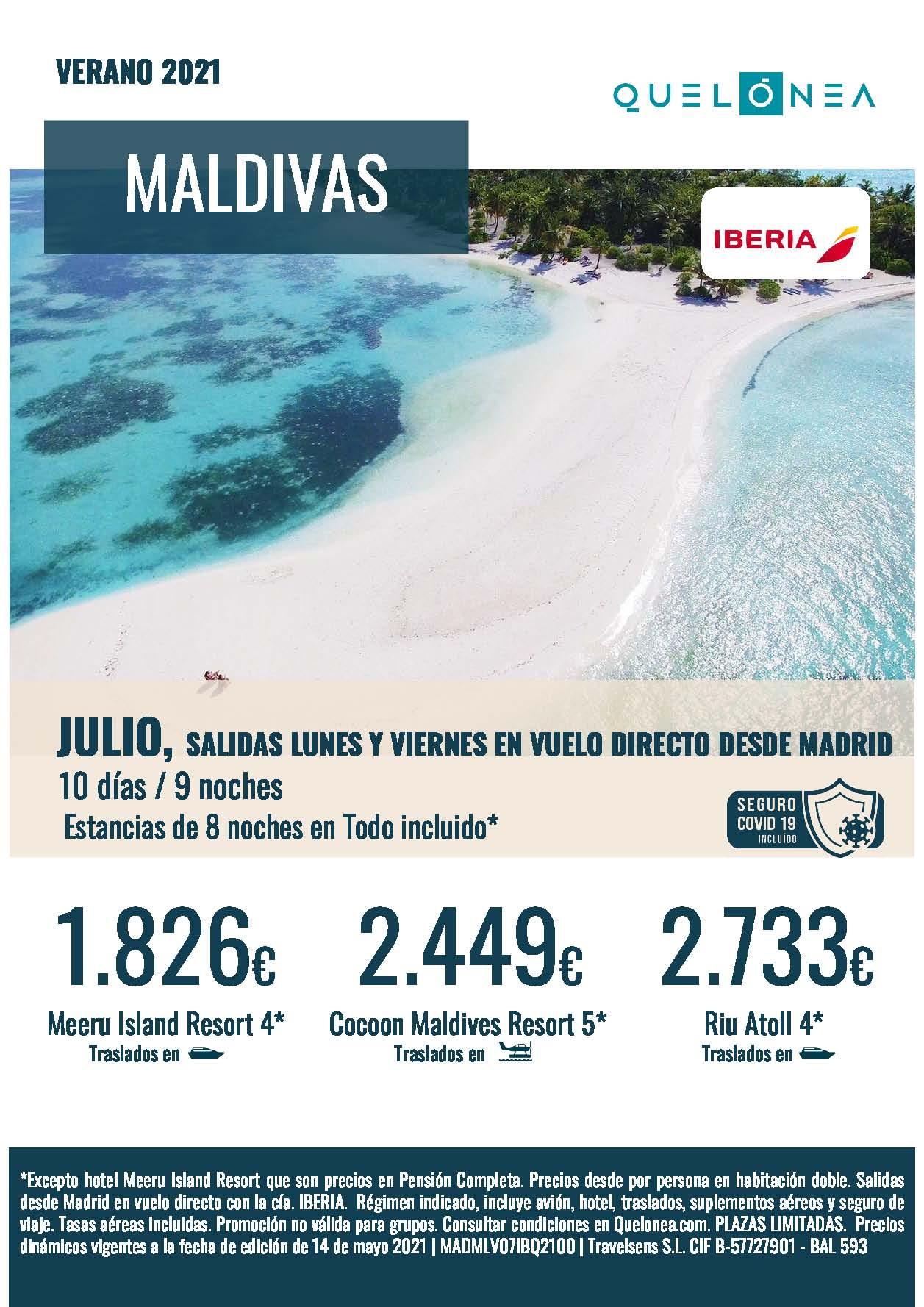 Ofertas Quelonea Maldivas Julio 2021 10 dias 9 noches vuelos directos desde Madrid con Iberia
