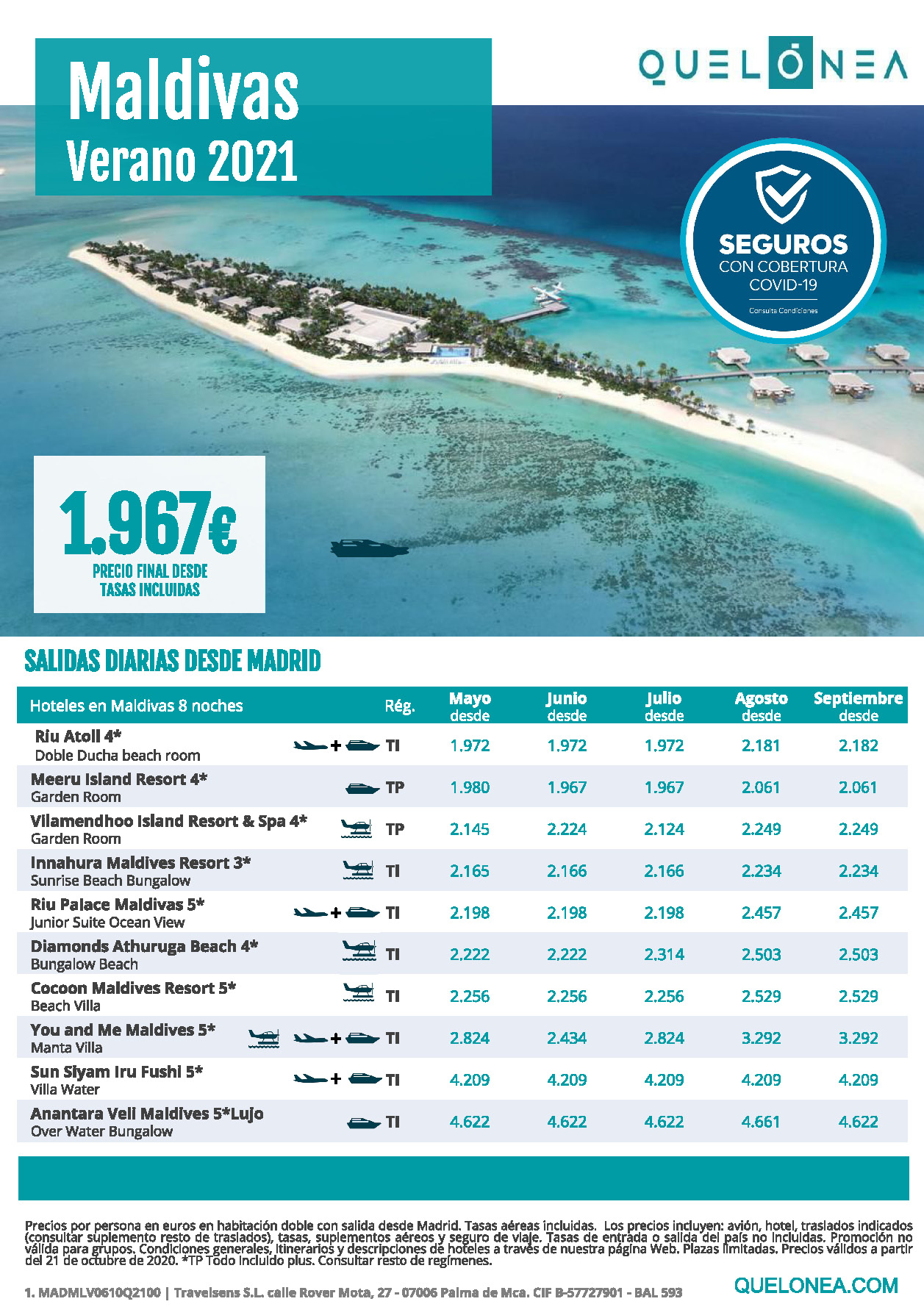 Ofertas Quelonea Maldivas Verano 2021
