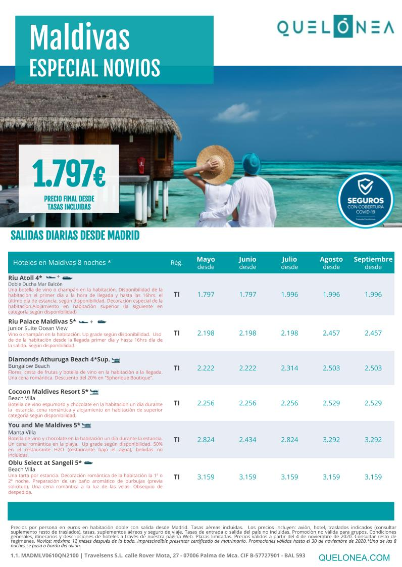 Ofertas Quelonea Novios Maldivas Verano 2021