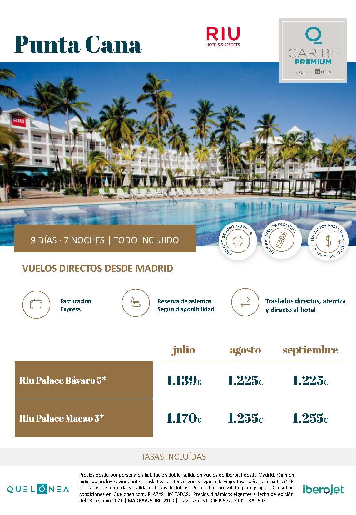 Ofertas RIU Palace Bavaro y RIU Palace Macao Punta Cana Julio Agosto y Septiembre 2021 vuelo directo desde Madrid