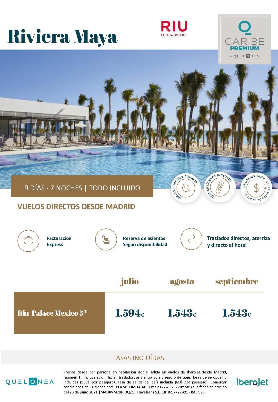 Ofertas RIU Palace Mexico Riviera Maya Julio Agosto y Septiembre 2021 vuelo directo desde Madrid