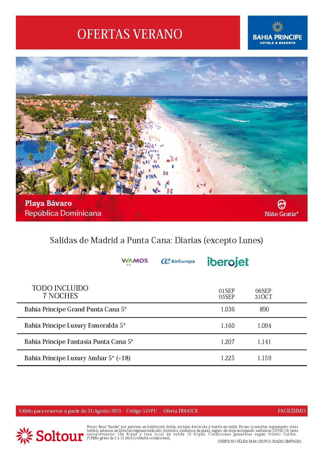 Ofertas Soltour Bahia Principe Punta Cana Playa Bavaro Septiembre y Octubre 2021