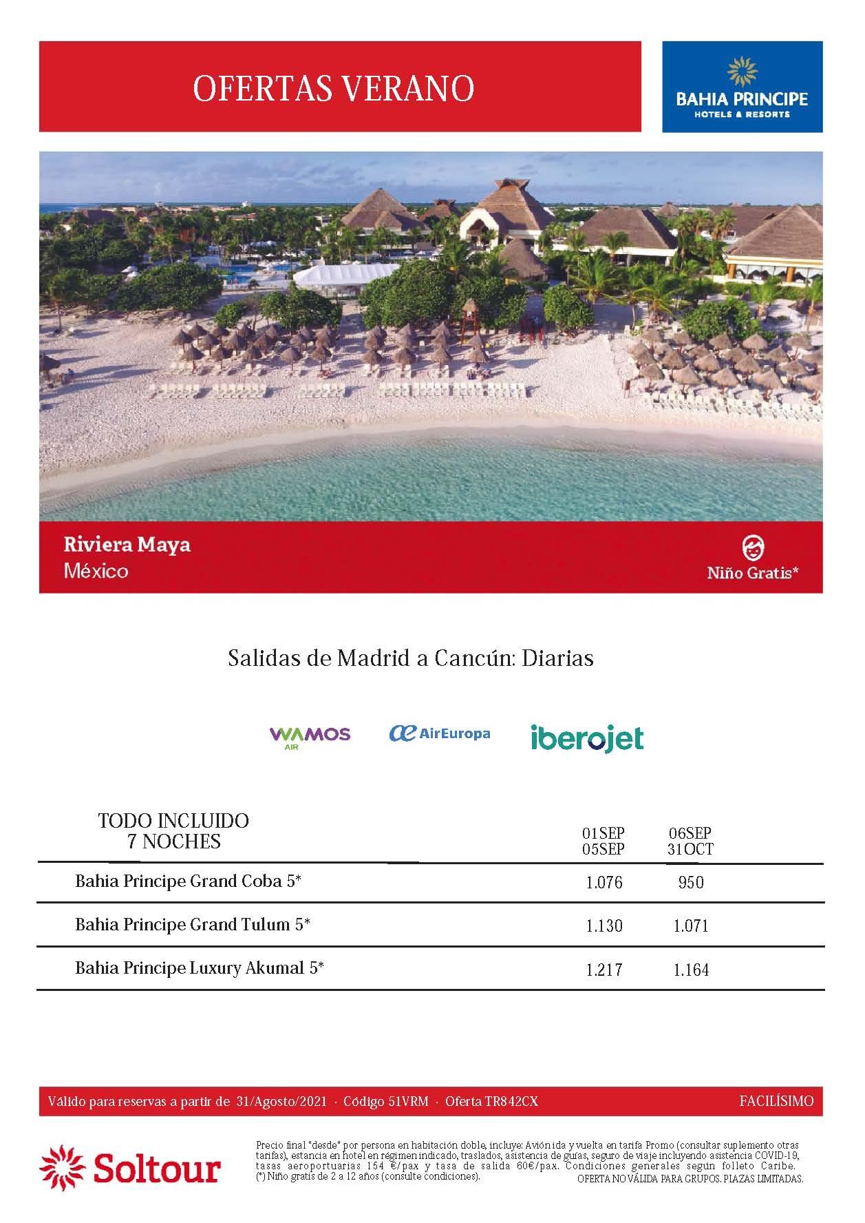 Ofertas Soltour Bahia Principe Riviera Maya Septiembre y Octubre 2021