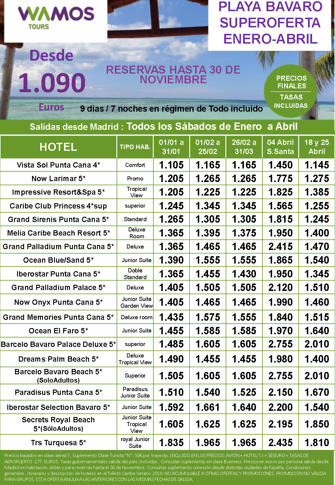 Ofertas Wamos Punta Cana Invierno y Primavera 2019-2020