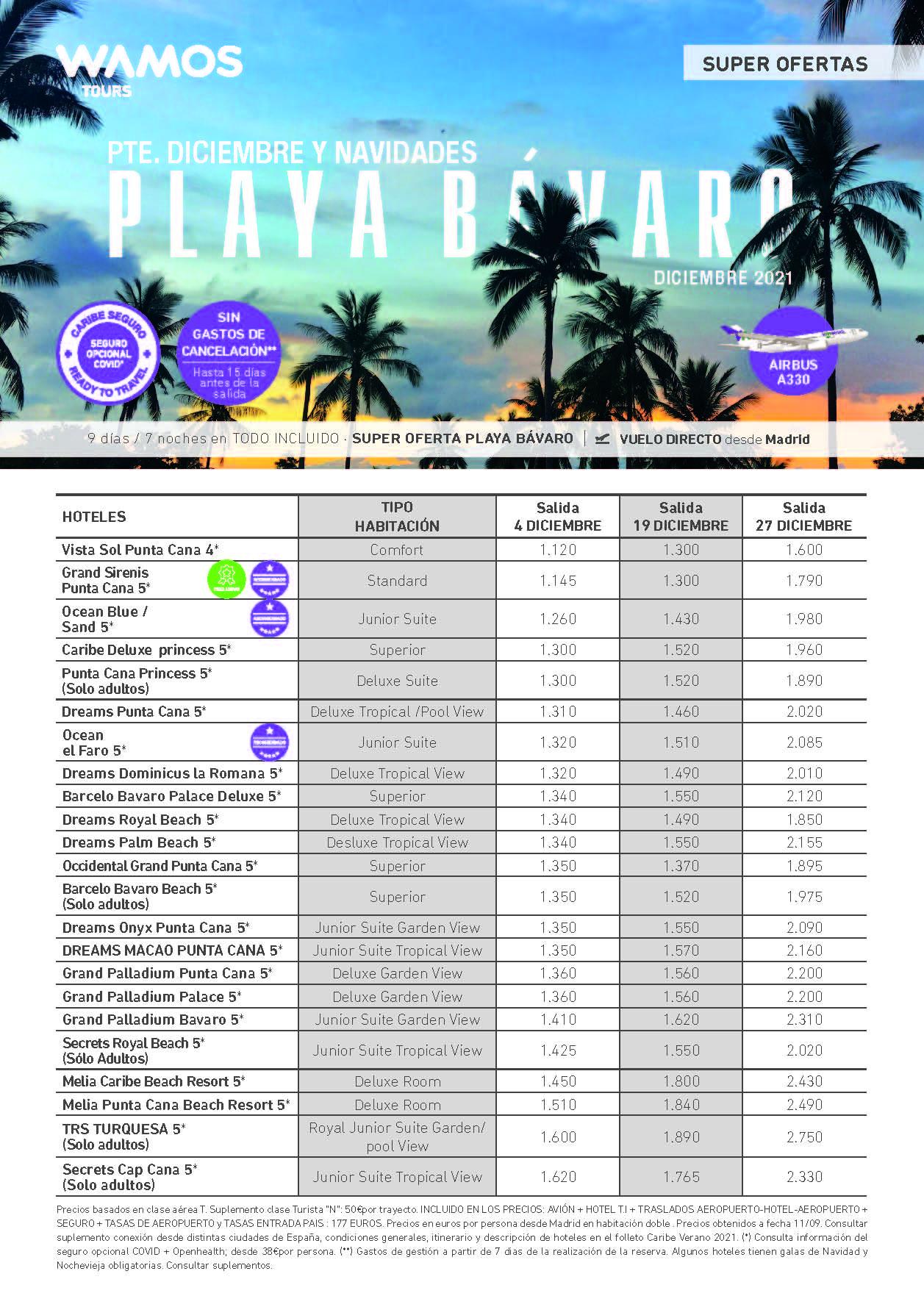 Ofertas Wamos Tours Playa Bavaro Punta Cana Puente de Diciembre Navidad y Fin de Ano 2021 salidas desde Madrid