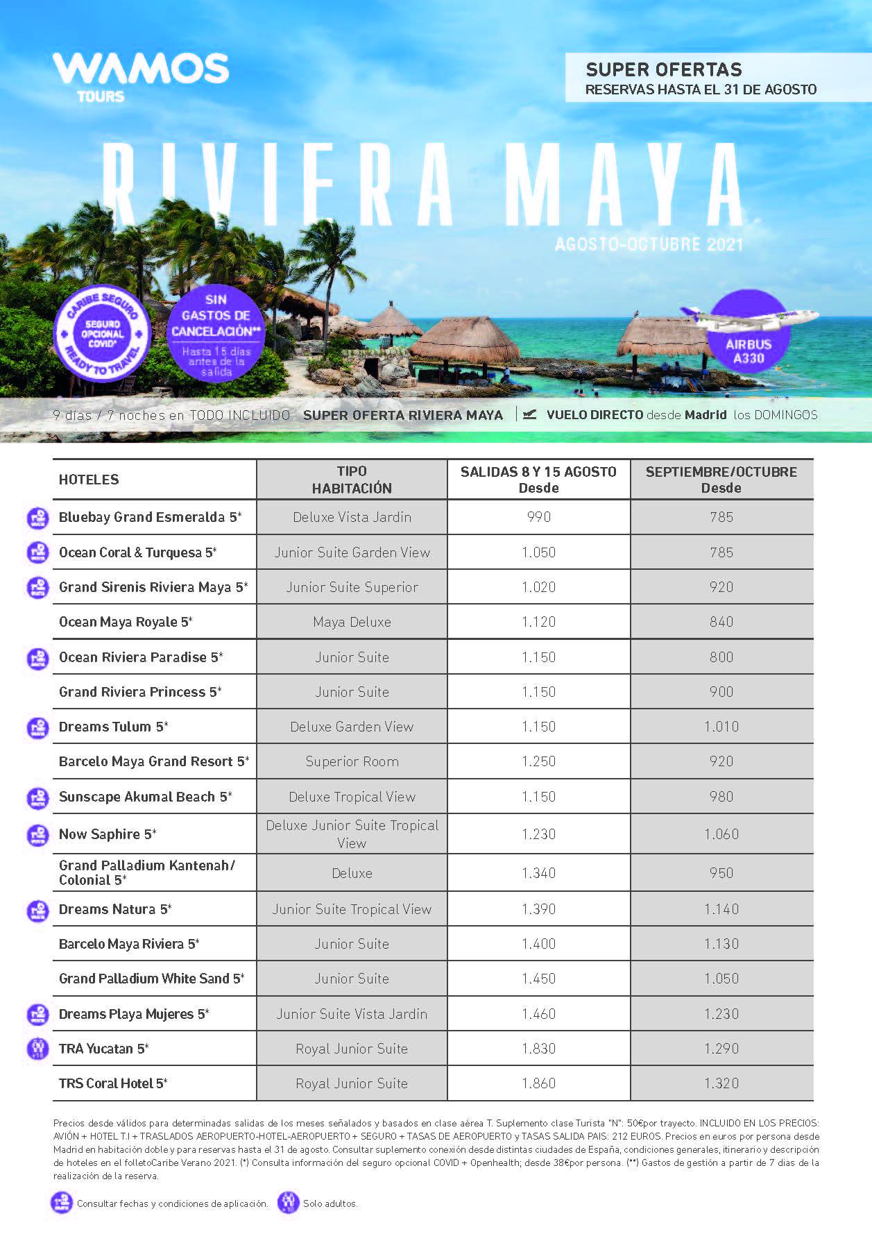 Ofertas Wamos Tours Riviera Maya Agosto Septiembre y Octubre 2021 reservas hasta 31 Agosto