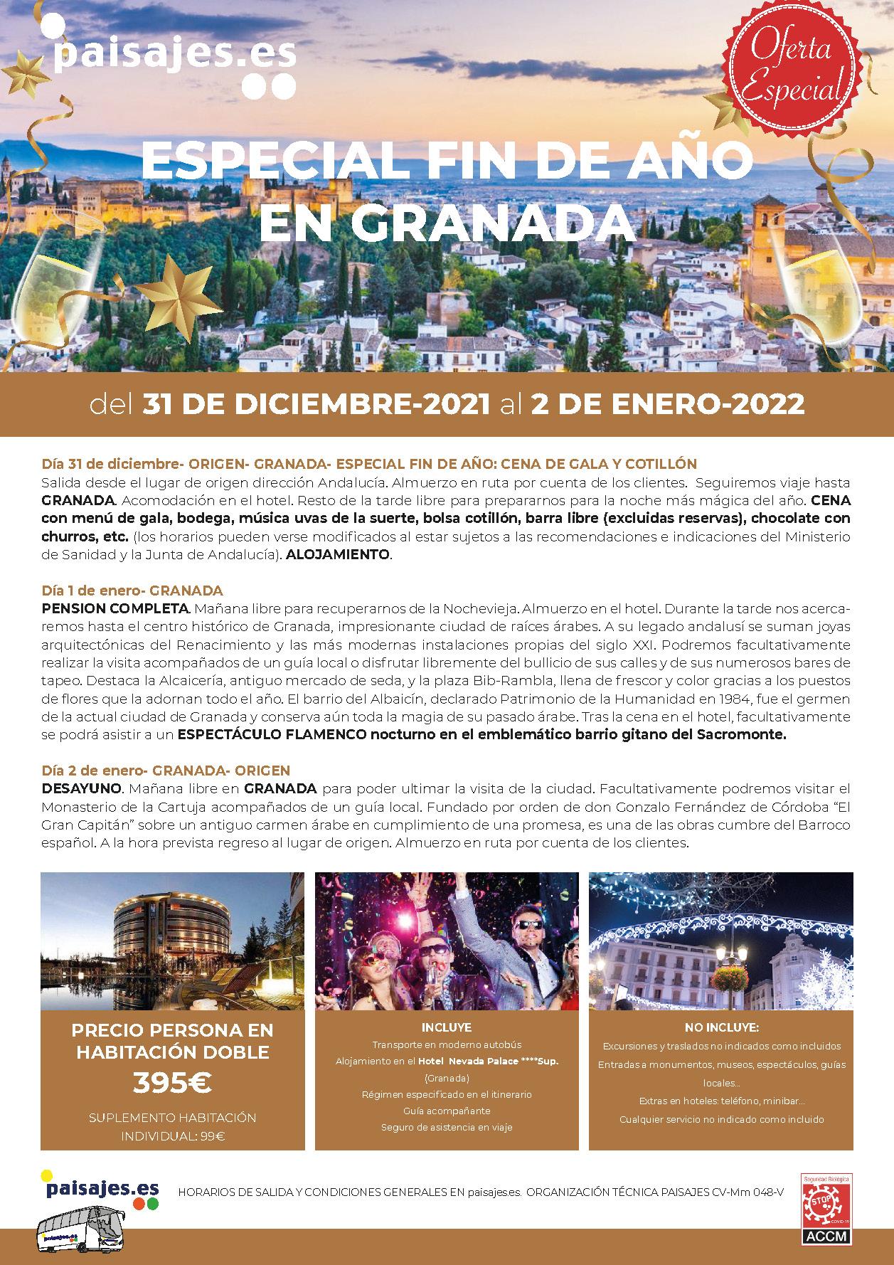 P Oferta Especial Paisajes Fin de Anio 2021-2022 en Granada salidas desde la Comunidad Valenciana