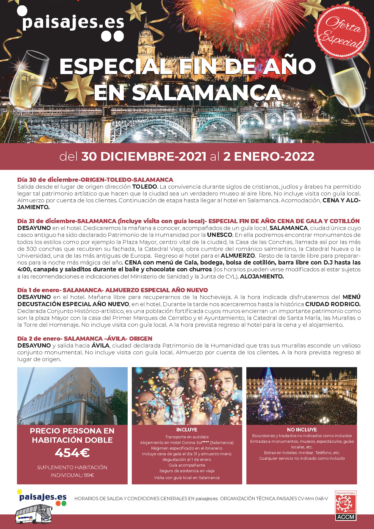 P Oferta Especial Paisajes Fin de Anio 2021-2022 en Salamanca salidas desde la Comunidad Valenciana
