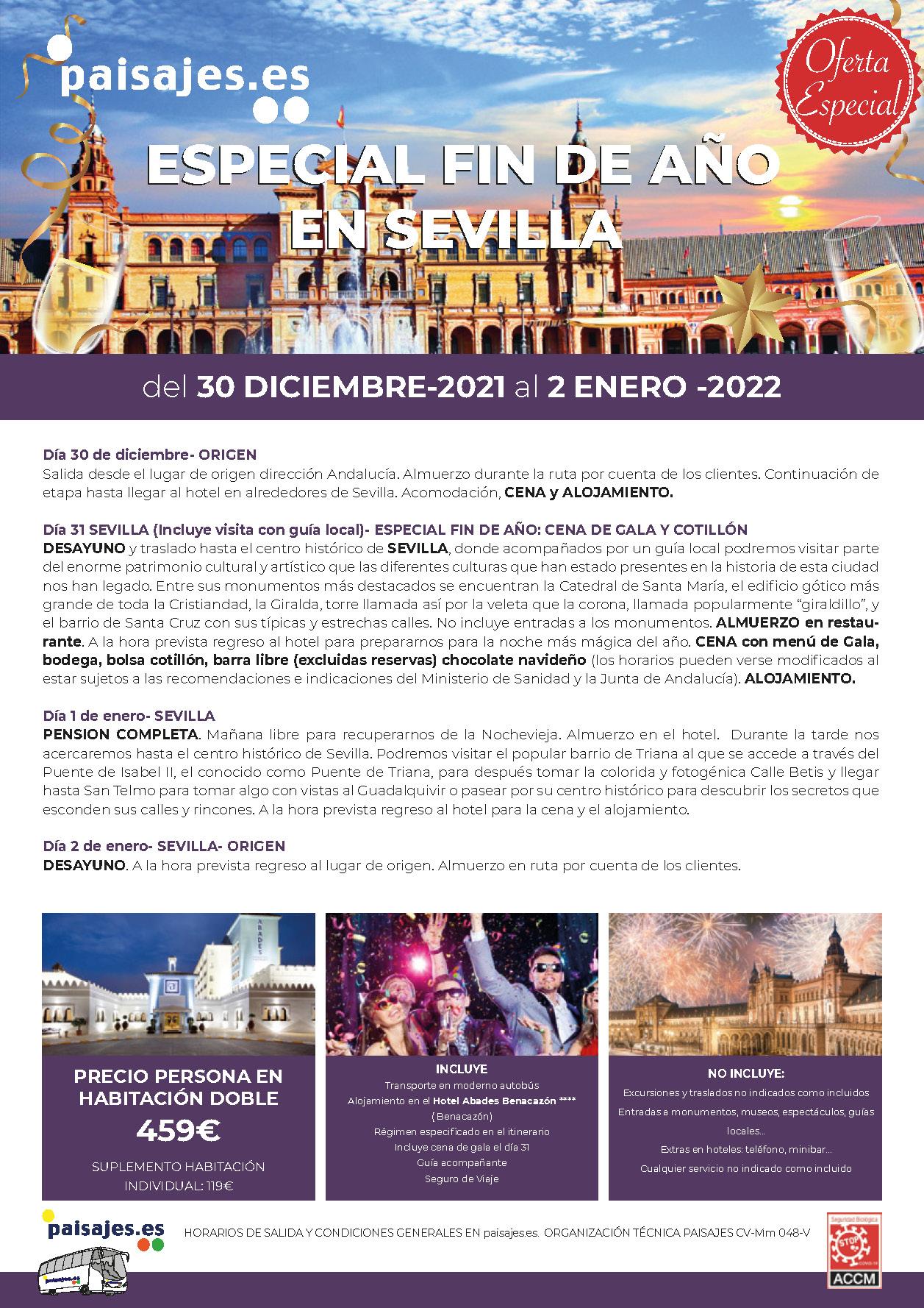 P Oferta Especial Paisajes Fin de Anio 2021-2022 en Sevilla salidas desde la Comunidad Valenciana