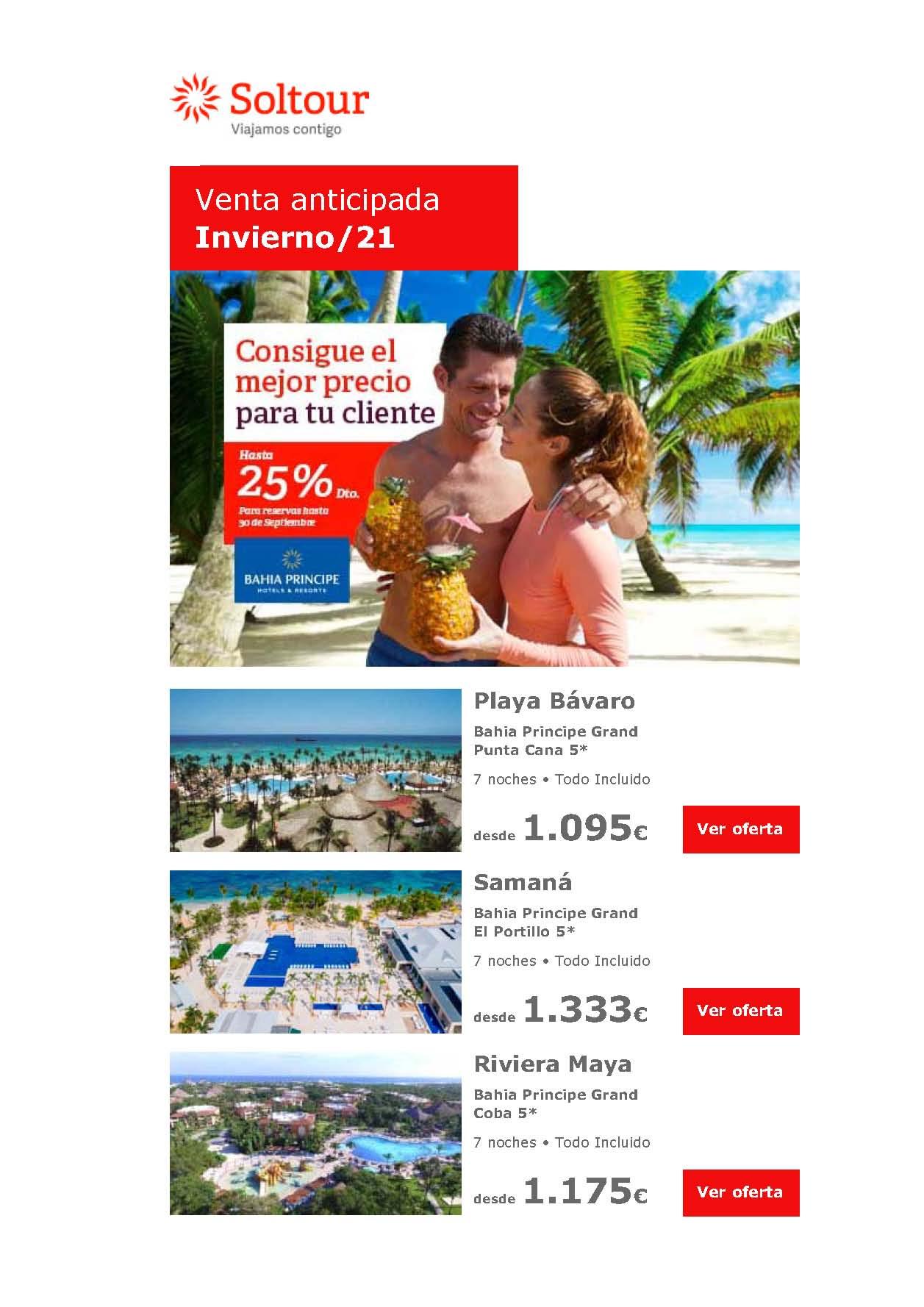 P Ofertas Soltour Venta Anticipada Bahia Principe Caribe y Tenerife Otono-Invierno 2021