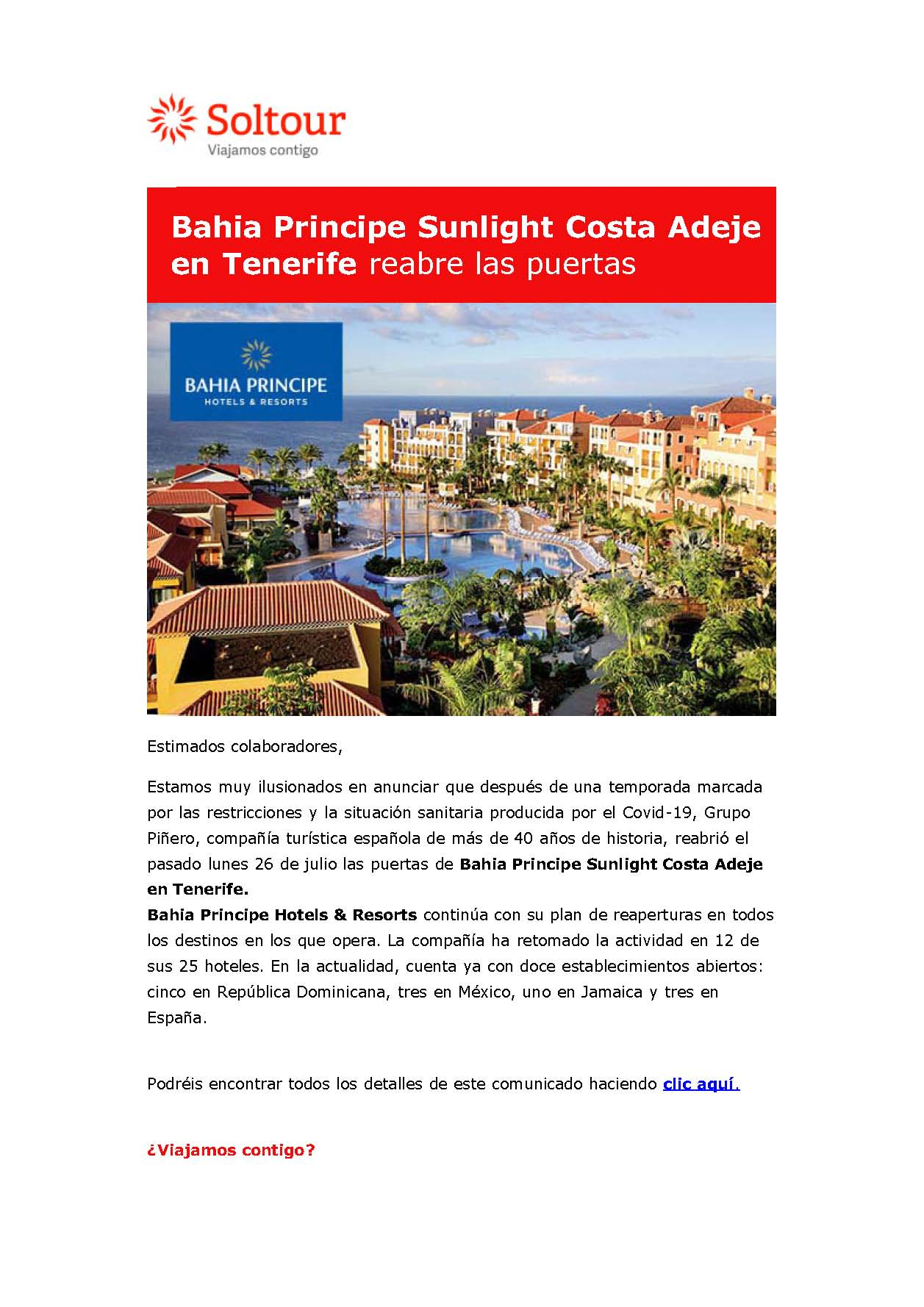 Reapertura Bahía Príncipe Sunlight Costa Adeje 26-7-2021