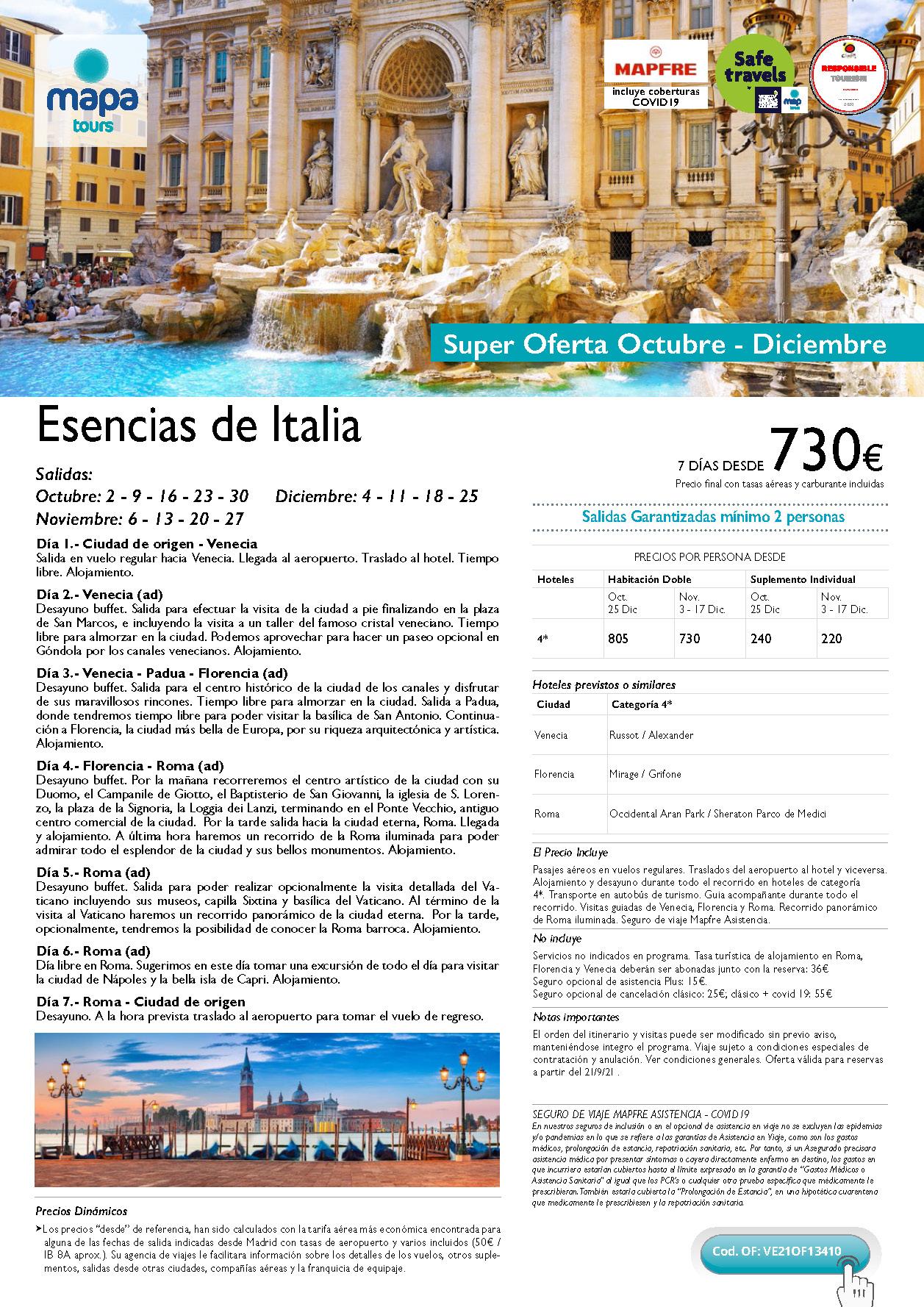 Super Oferta Mapa Tours Octubre a Diciembre 2021 Esencias de Italia salidas desde Madrid