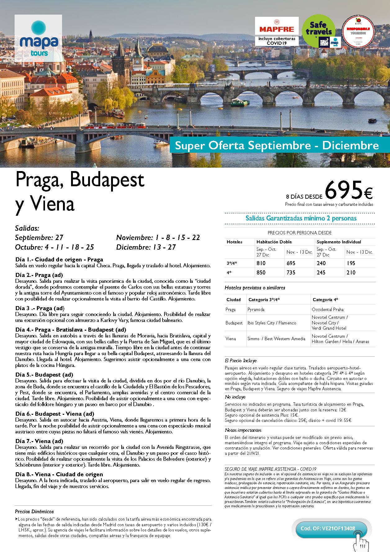 Super Oferta Mapa Tours Septiembre a Diciembre 2021 Praga Budapest Viena salidas desde Madrid