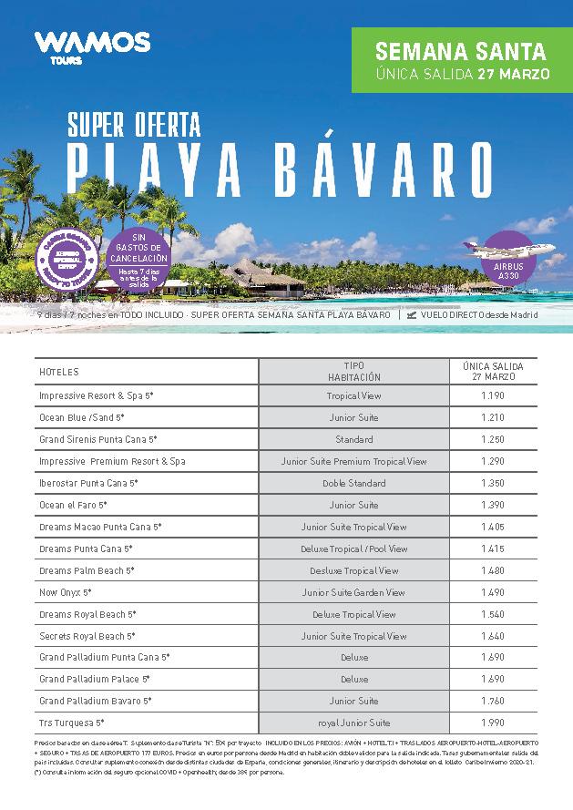 Super Oferta Wamos Tours Semana Santa 2021 en Playa Bavaro Grand Sirenis Punta Cana 2