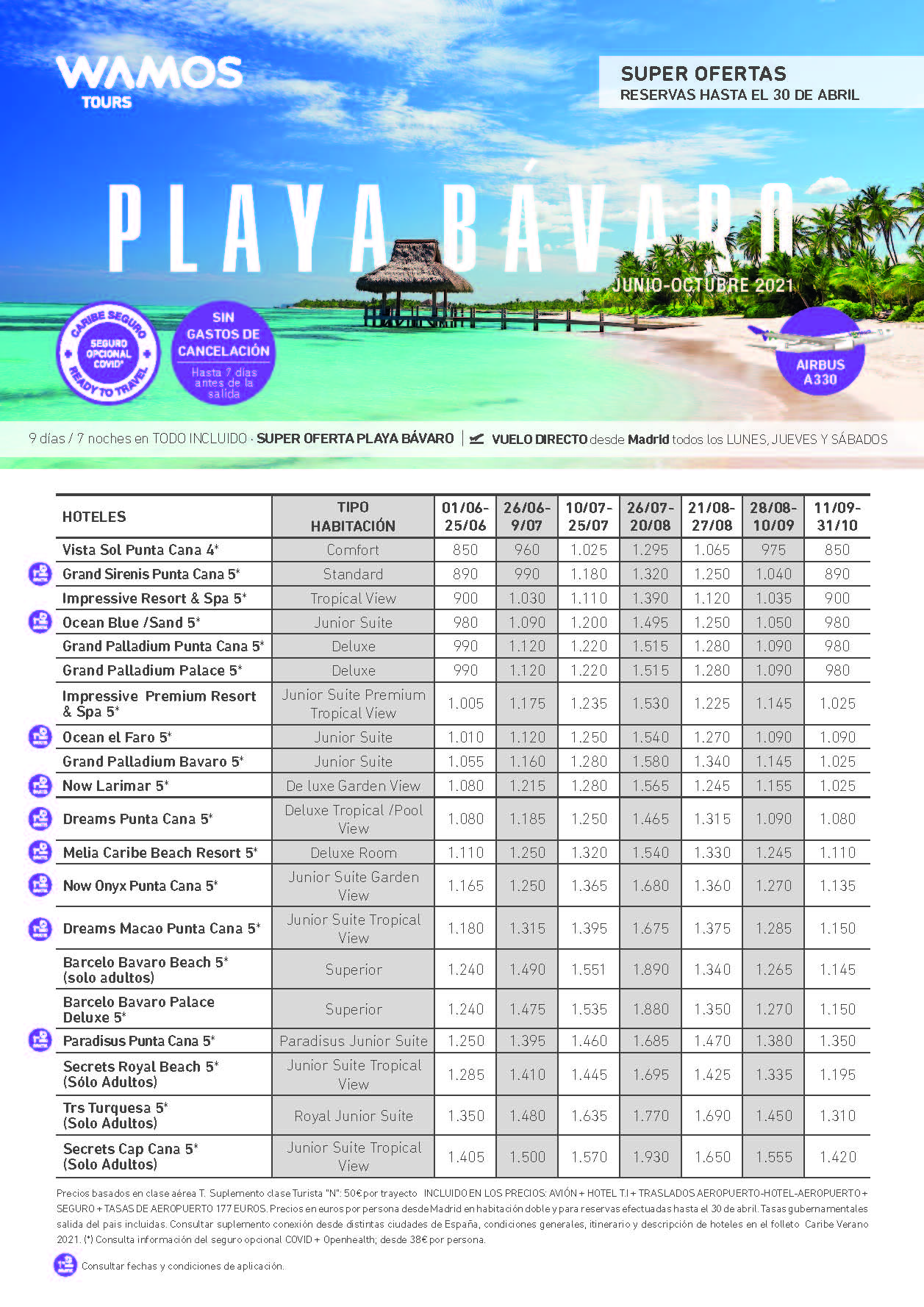 Super Ofertas Wamos Tours Playa Bavaro Verano 2021 reservas hasta 30 de abril