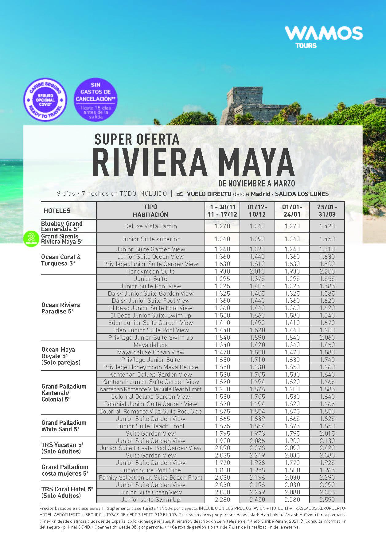 Super Ofertas Wamos Tours Riviera Maya Mexico Noviembre 2021 a Marzo 2022 salida en vuelo directo desde Madrid