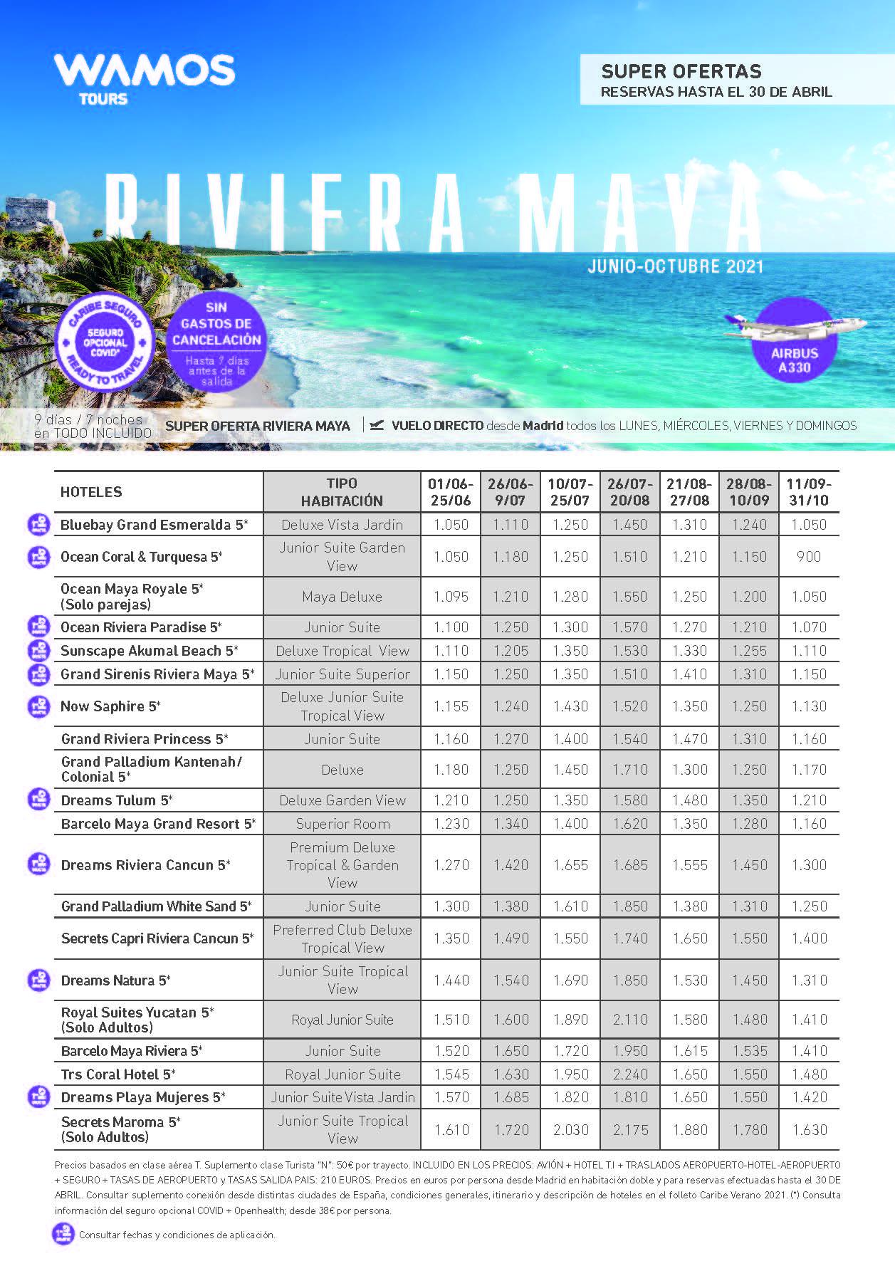 Super Ofertas Wamos Tours Riviera Maya Verano 2021 reservas hasta 30 de abril