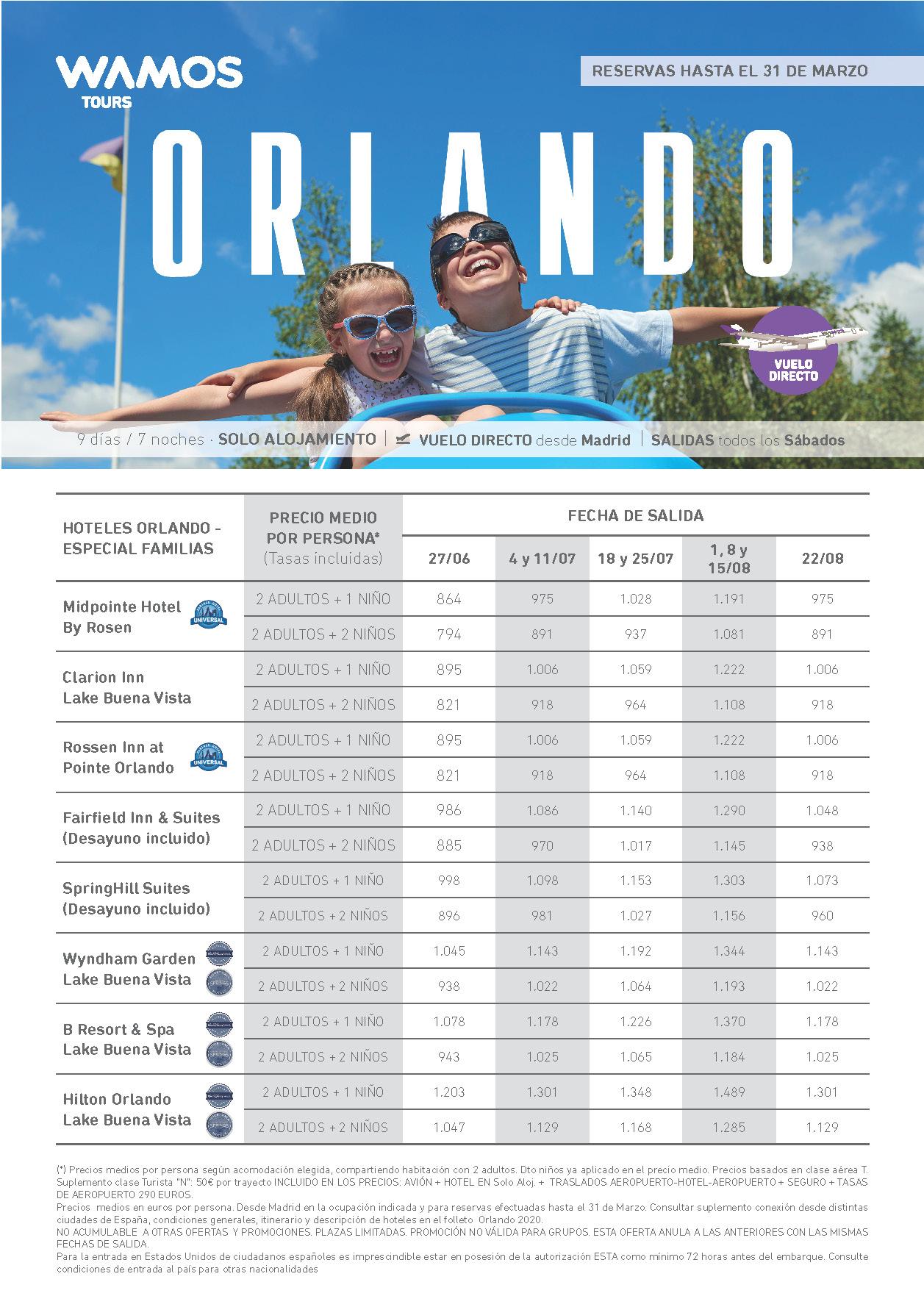 Superoferta Wamos Tours Orlando Verano 2020 reservas hasta 31 Marzo